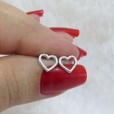 Brinco mini tarsi, coração, prateado - REF B117