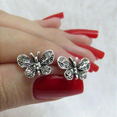 Brinco mini tarsi, borboleta, prateado envelhecido - REF B124