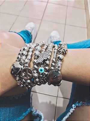_Conjunto de pulseiras positive vibes, 8 peças, prateado - REF P425