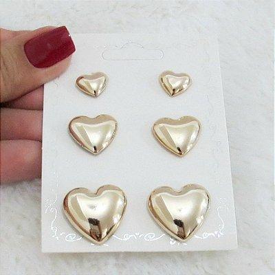 Kit 3 pares de brincos, love, dourado - REF B167
