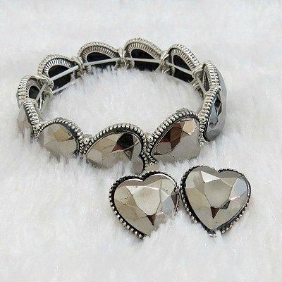 Pulseira bracelete love key prateada, acompanha brinco grátis - REF P439