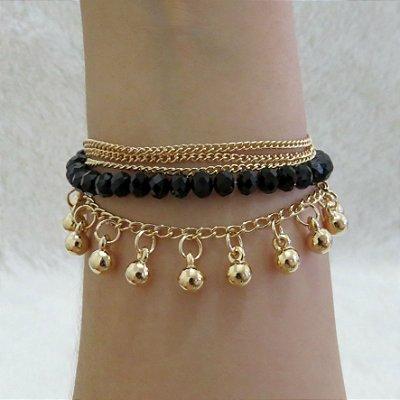 Pulseira gypsi, dourada, black - REF P205