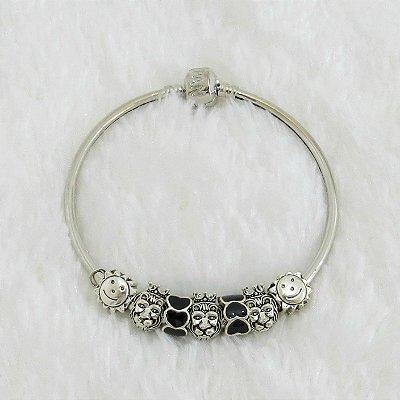 Pulseira prateada bracelete 21cm + 7 berloques, love, black - REF P111