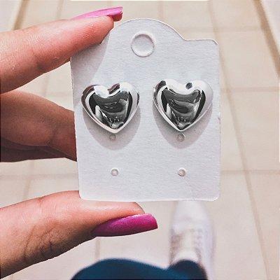 Brinco New Collection , coração prateado médio - REF B224