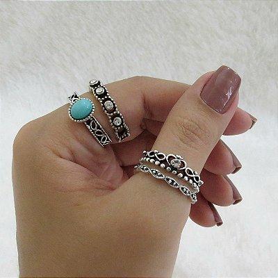 Conjunto de anéis com 4 peças, boho turquesa - REF: K031