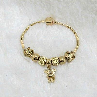 Pulseira inspired, funny, 6 berloques + 1 pingente, dourada - 17,5cm -  - REF P133