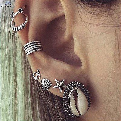 Kit de piercings, mermaid, 7 peças, prateado - REF B238  (não é o par)
