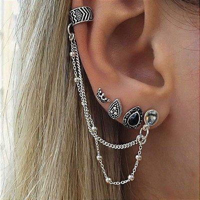 Kit de piercings, bohemia, south, 5 peças, prateado - REF B245 (não é o par)