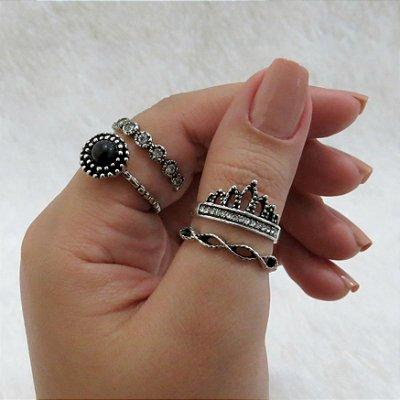 Conjunto de anéis, 4 peças, inspired black, prateado envelhecido  - REF K034
