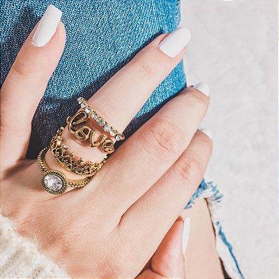 Conjunto de anéis com 4 peças, love, dourado - REF K036