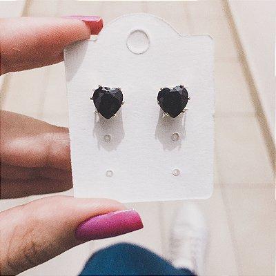 Brinco new collection, coração preto - REF B252