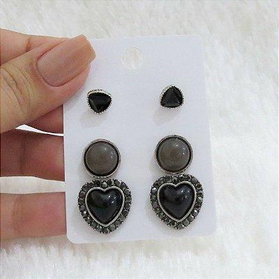 Kit de brincos coração preto - REF B253
