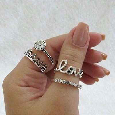 Kit de anéis love, com 4 peças, prateado  - REF K037