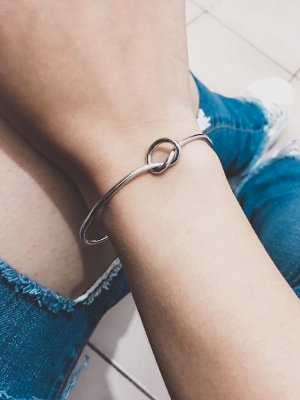 Pulseira bracelete bohemia, nó, prateado - REF P490