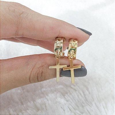 Brinco mini argola, cruz, dourado - REF B276