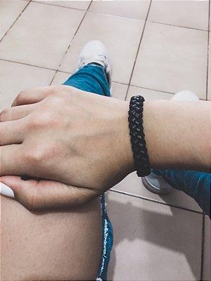 Pulseira braid, courinho, black - REF P511