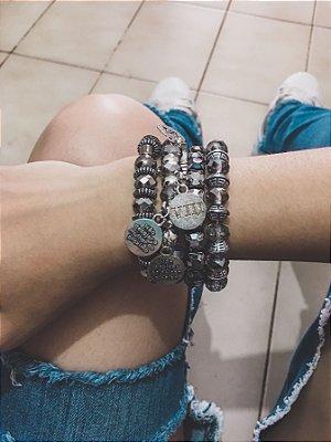 Conjunto de pulseiras 4 peças, 10 mandamentos - REF P515