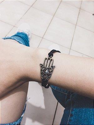_Pulseira courinho, mão de fátima - REF P519
