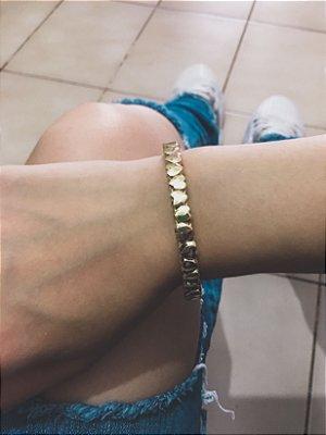 Pulseira bracelete, corazon, dourada - REF P522