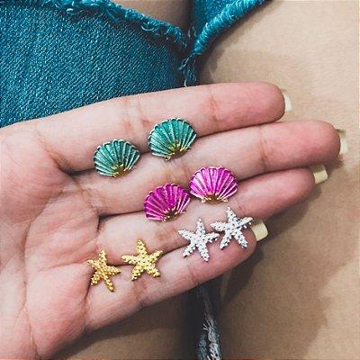 Kit de brincos, bohemia, mermaid, 4 pares, prateado  - REF B280