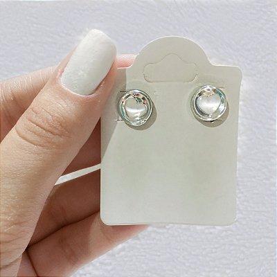 Brinco mini, love, white, prateado - REF B291