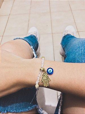 Pulseira sasha, mão de fátima e olho grego, dourada  - REF P531