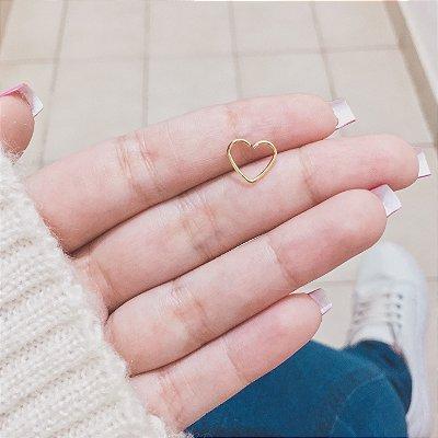 Piercing de furo, coração, dourado - X026