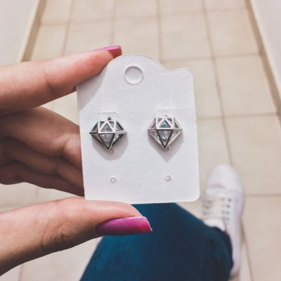 Brinco diamond, prateado - REF B295
