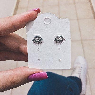 Brinco mini, olho de hórus, prateado - REF B302