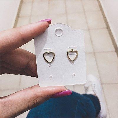 Brinco, coração, premium, dourado - REF B305