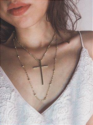 Cola duplo, constelação + cruz, dourado