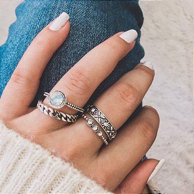 Conjunto de anéis com 4 peças, doce inverno, prateado - REF K042