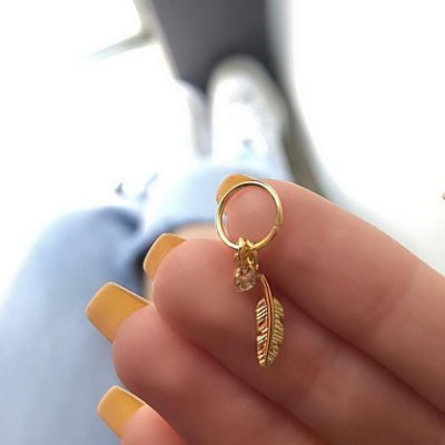 Piercing de furo, argolinha, folha, dourado - REF X041