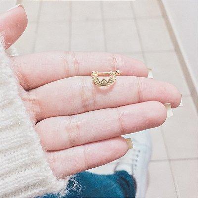 Piercing de furo, argolinha queen, dourado - REF X039