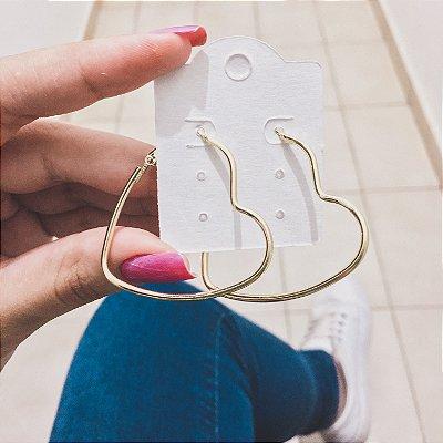 Brinco new collection, argola coração, dourada - REF B309