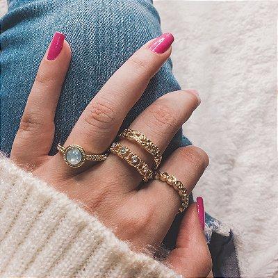 Conjunto de anéis com 4 peças, amanhecer, dourado - REF K045