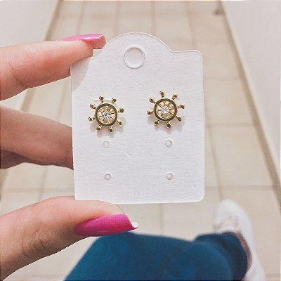 Brinco mini, leme, dourado - REF B322
