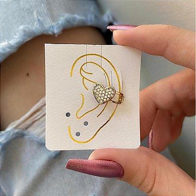 Brinco ear cuff, tabata, love, dourado - REF B328
