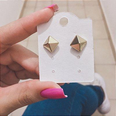 Brinco mini, losango, dourado - REF B338