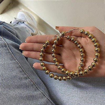 Brinco new collection, argola fulk, dourado - REF B372