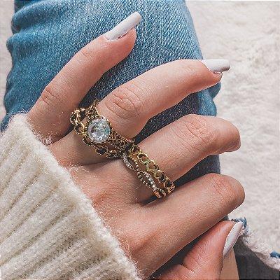 Conjunto de anéis com 4 peças, belle, dourado - REF K050