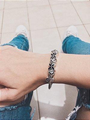 Pulseira prateada bracelete 21cm + 6 berloques, only, black - REF REF P564