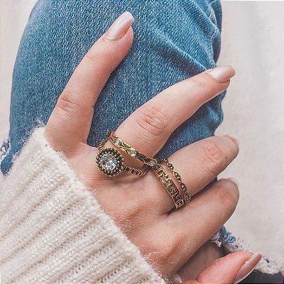 Conjunto de anéis com 4 peças, egíto, dourado - REF K051