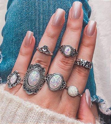 Conjunto de anéis com 7 peças, asia, prateado envelhecido, R$ 4,98 cada anel - REF K052