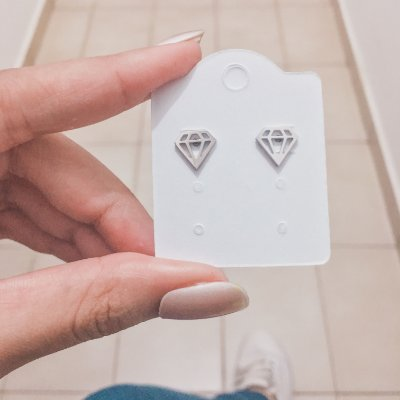 Brinco mini, fanny, diamond, prateado - REF B413