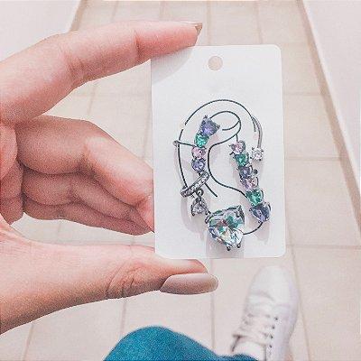 Kit de brincos ear cuff, veneza, 4 peças, inverno, prateado - REF B416