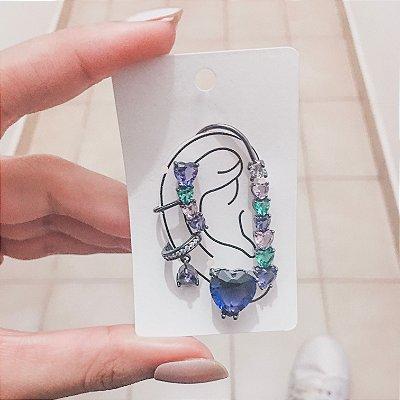 Kit de brincos ear cuff, veneza, 4 peças, outono, prateado - REF B417