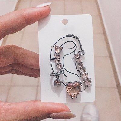 Kit de brincos ear cuff, veneza, 4 peças, champagne, ródio negro - REF B419