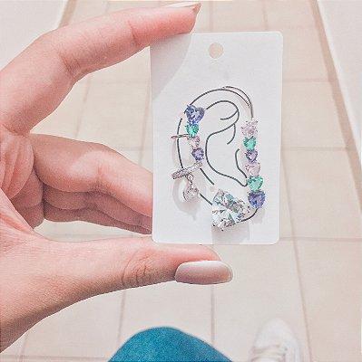 Kit de brincos ear cuff, veneza, 4 peças, cristal, prateado - REF B425