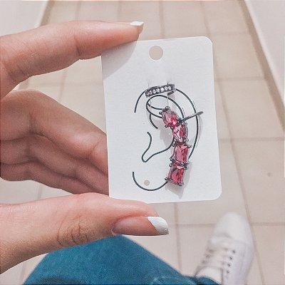 Kit de brincos ear cuff, tai, 2 peças, pink, ródio negro - REF B430